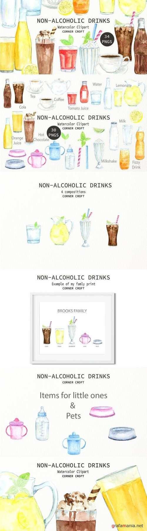 Watercolor Clipart Non Alcoholic Drinks - 2263588
