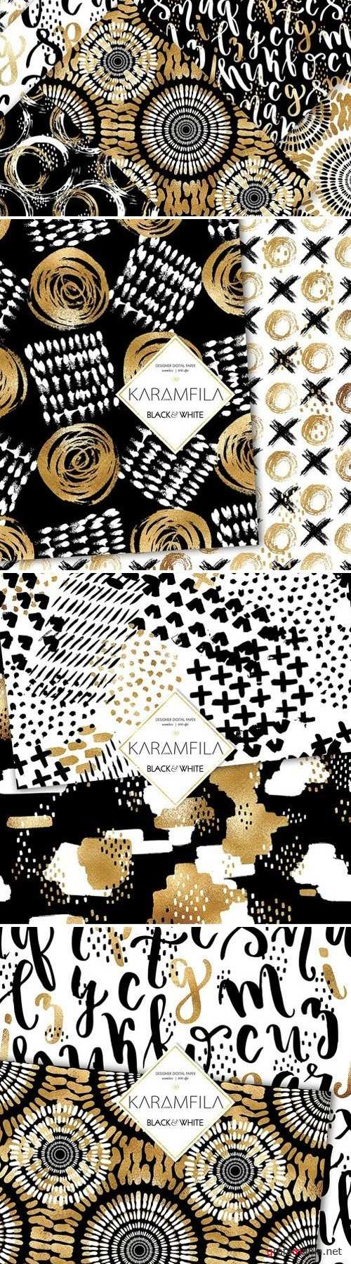 Black and White Doodles Patterns 2153343
