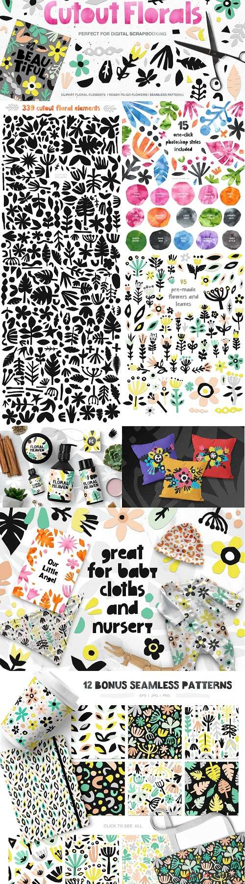 426 Cutout Floral Elements: PNG, EPS 2076425