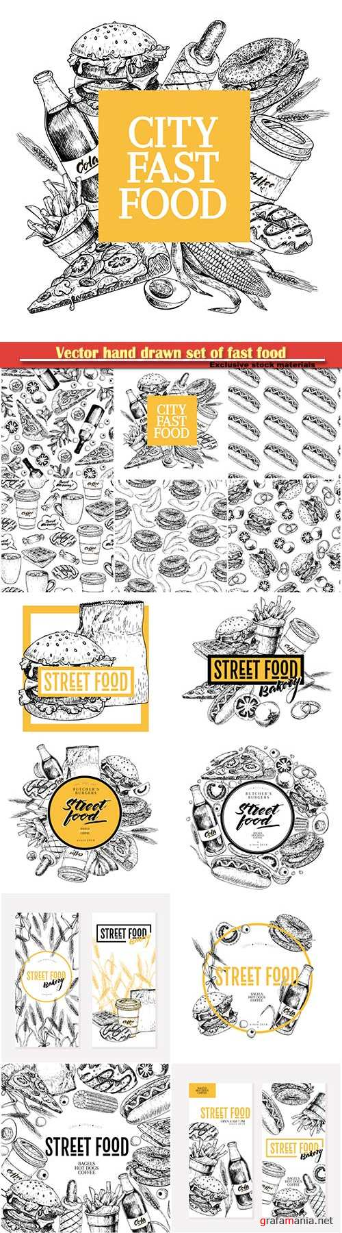 Vector hand drawn set of fast food, for restaurant, menu, street food, bakery, cafe