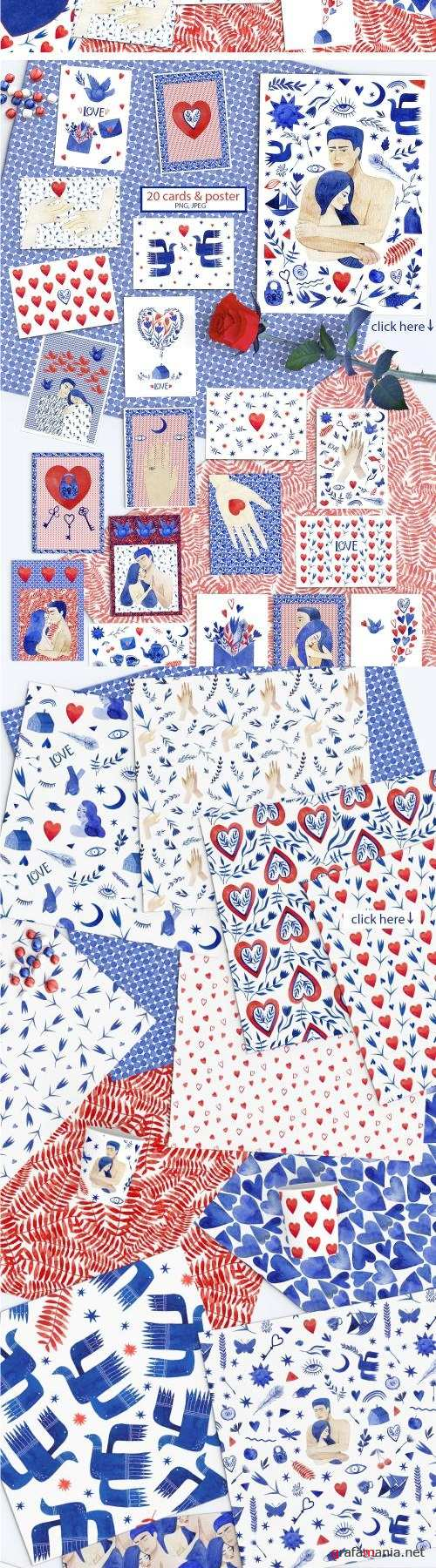 Valentine's patterns & cards. Love - 2250545