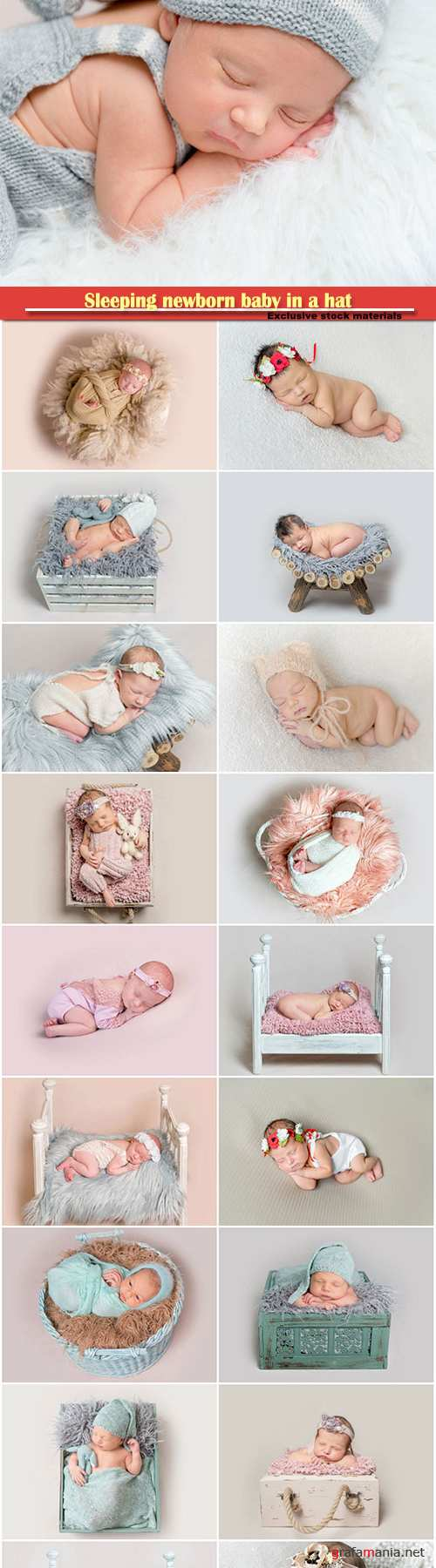 Sleeping newborn baby in a hat
