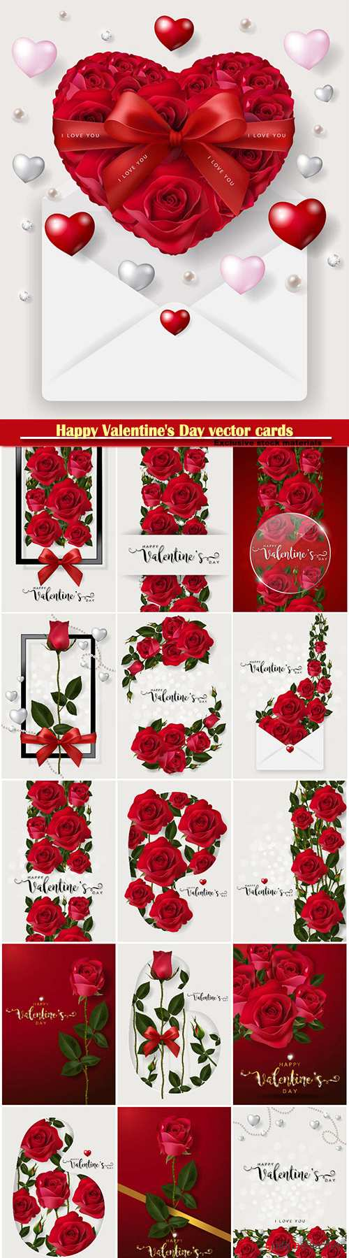 Happy Valentine's Day vector cards, red roses and hearts, romantic backgrounds # 3