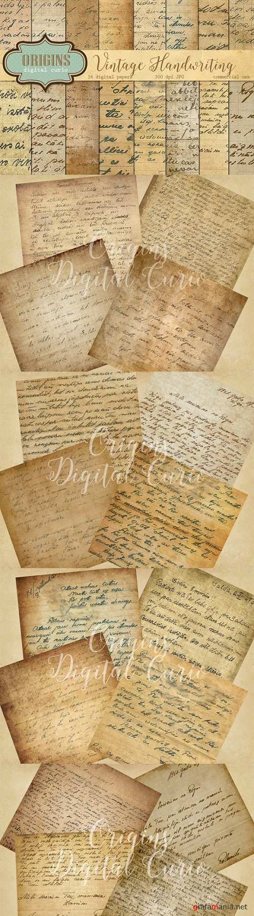 Vintage Handwriting Digital Paper - 402417