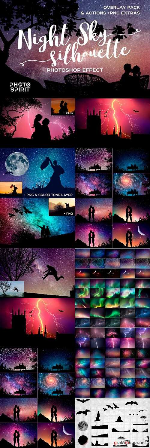 Night Sky Silhouette Actions - 2223145