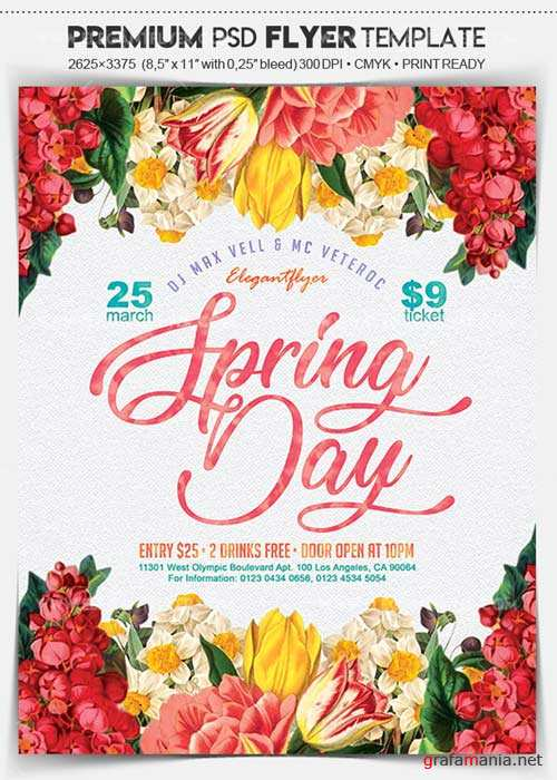 Spring Day V1 2018 Flyer PSD Template + Facebook Cover