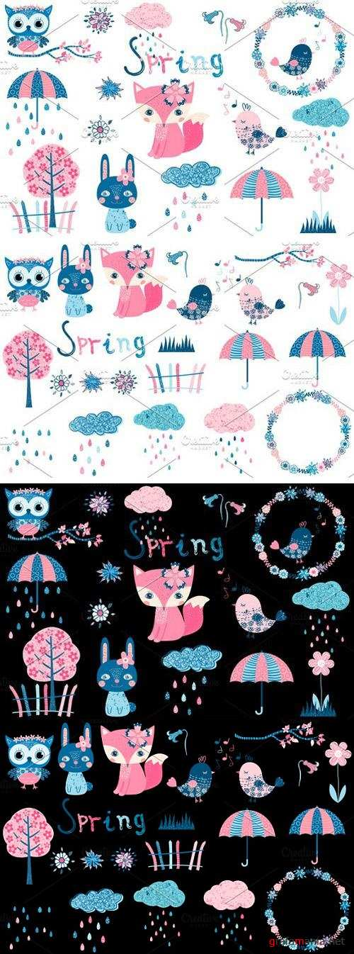 Cute spring clipart set with animals 2278658