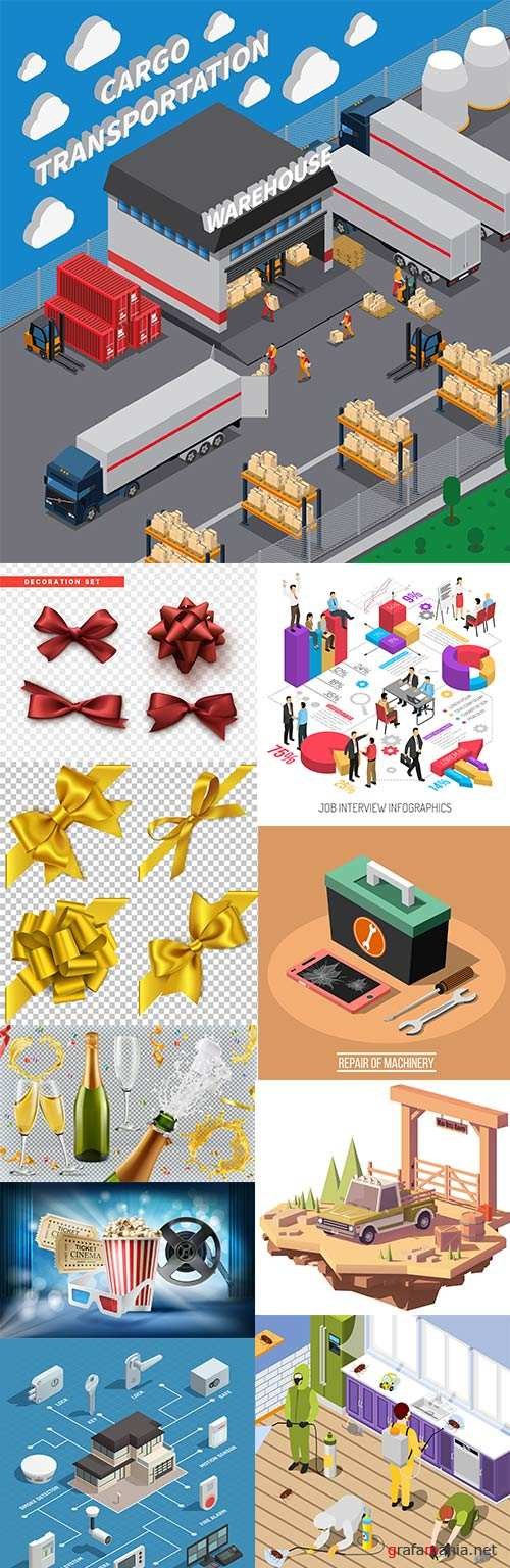 Isometric composition and decorative elements illustration