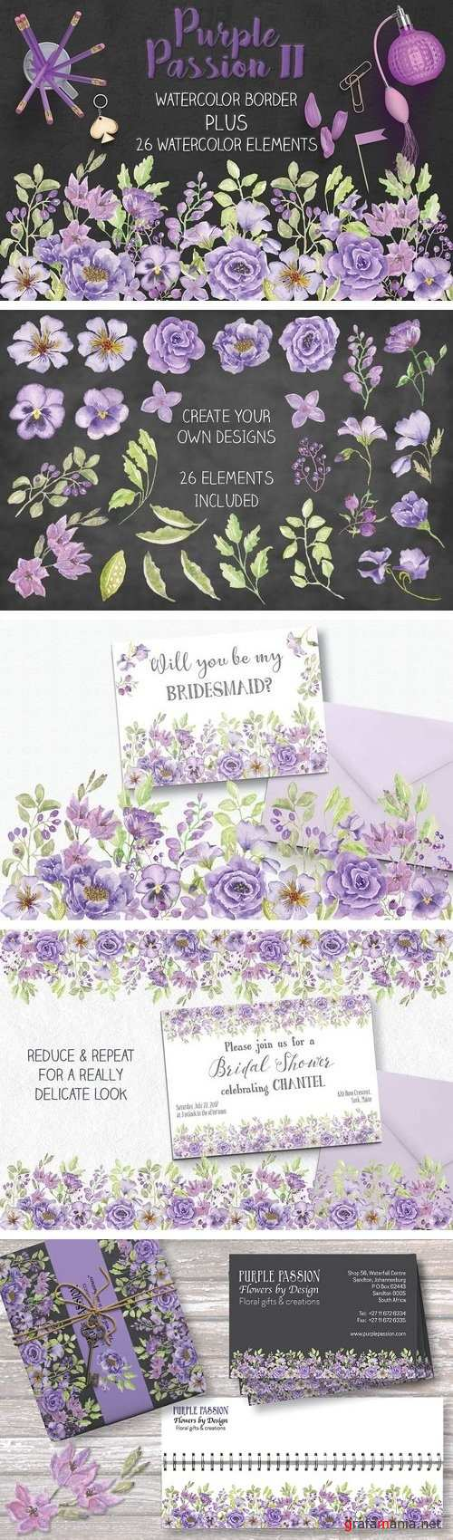 Purple watercolor border + elements - 1522515