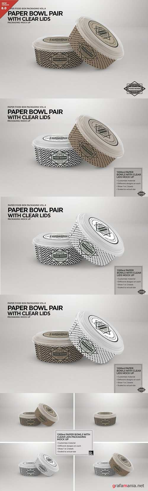 Paper Bowls with Clear Lids MockUp - 2181800