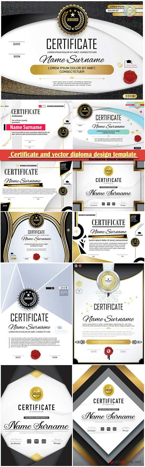 Certificate and vector diploma design template # 53