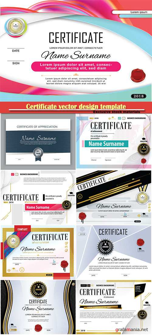 Certificate and vector diploma design template # 54