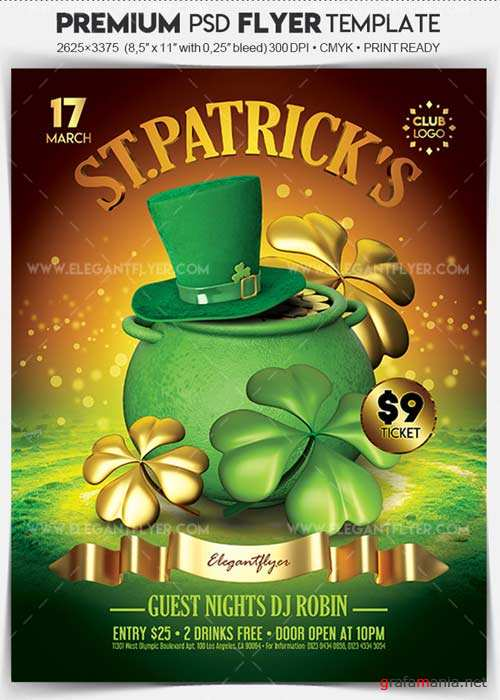 St. Patrick's Day 2018 V6 2018 Flyer PSD Template + Facebook Cover