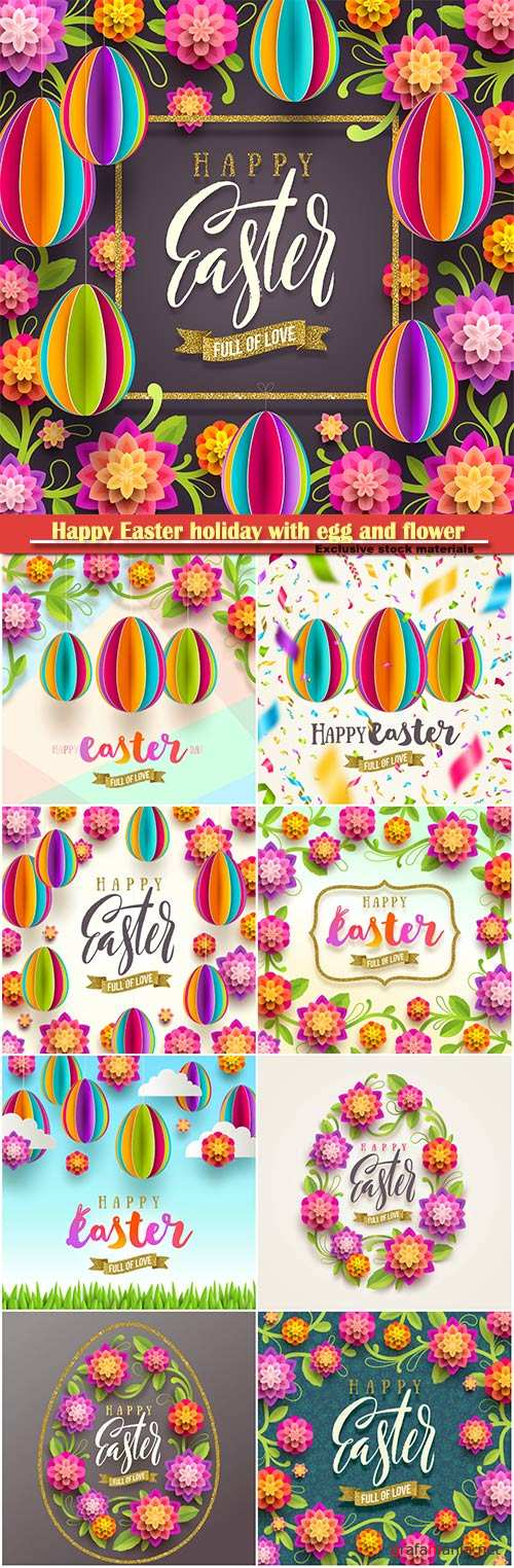 Happy Easter holiday with egg and flower, vector illustration # 3
