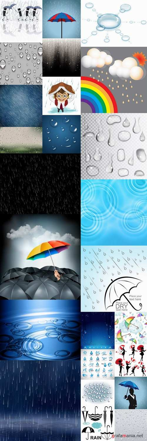 Rain umbrella drop of water on glass by bad weather 25 EPS