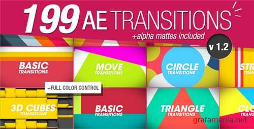 199 Transitions Pack v1.2 - After Effects Project (Videohive)