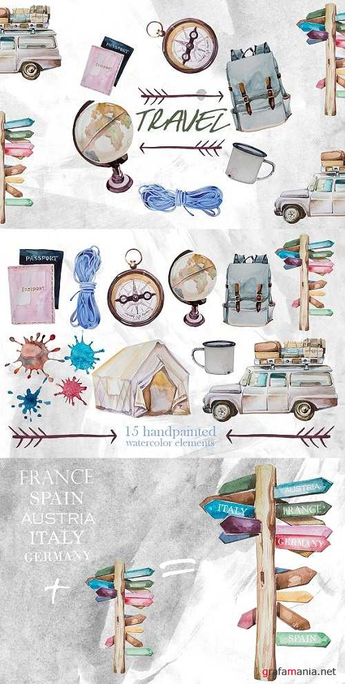 Watercolor Travel Clipart 1623390