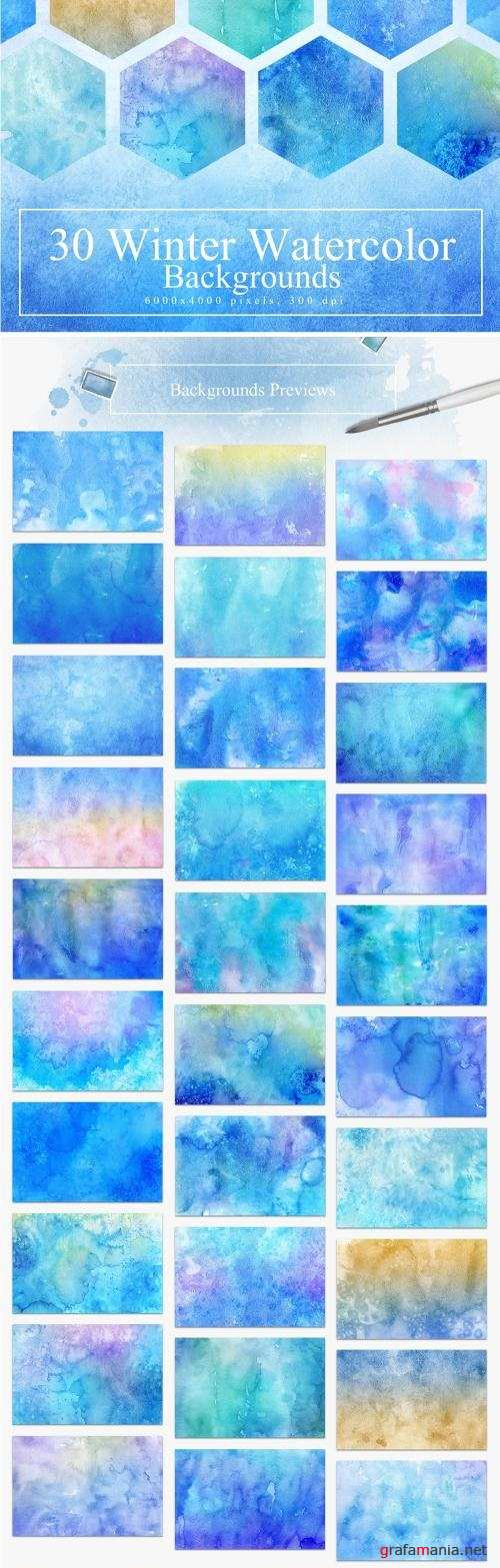 30 Winter Watercolor Backgrounds - 2301265