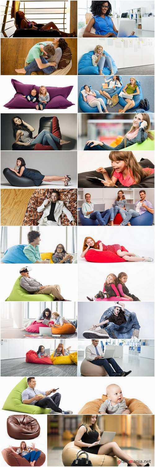 Woman a man a child on an inflatable chair couch relaxing holiday joy 25 HQ Jpeg