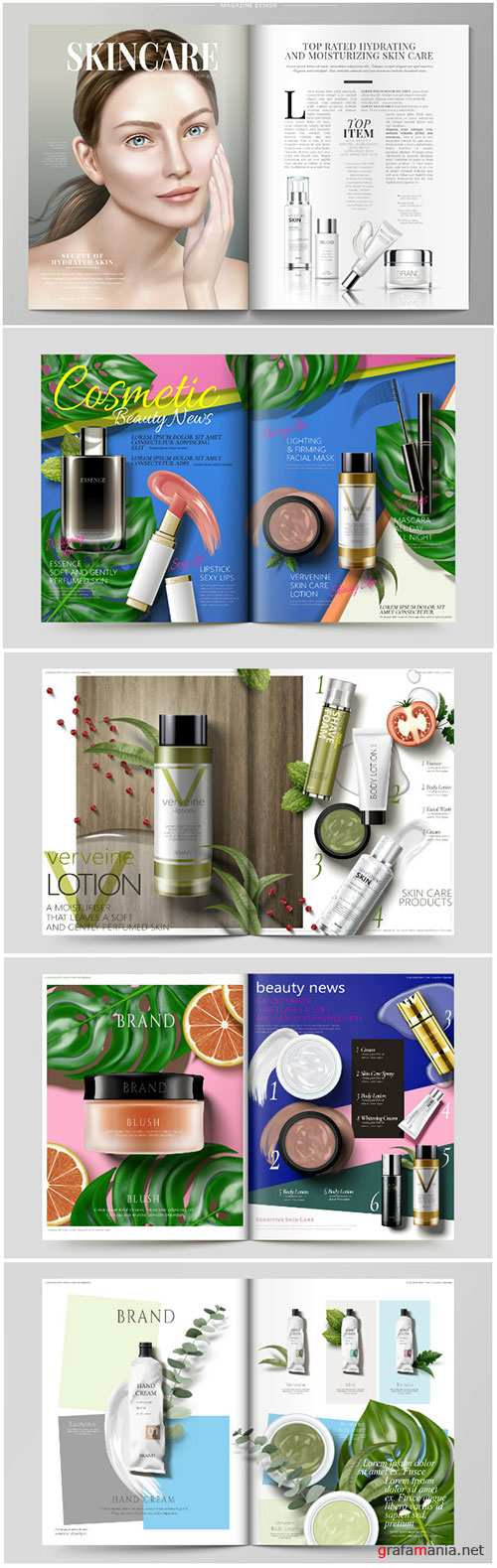 Cosmetic magazine vector template, attractive model with product containers in 3d illustration # 4