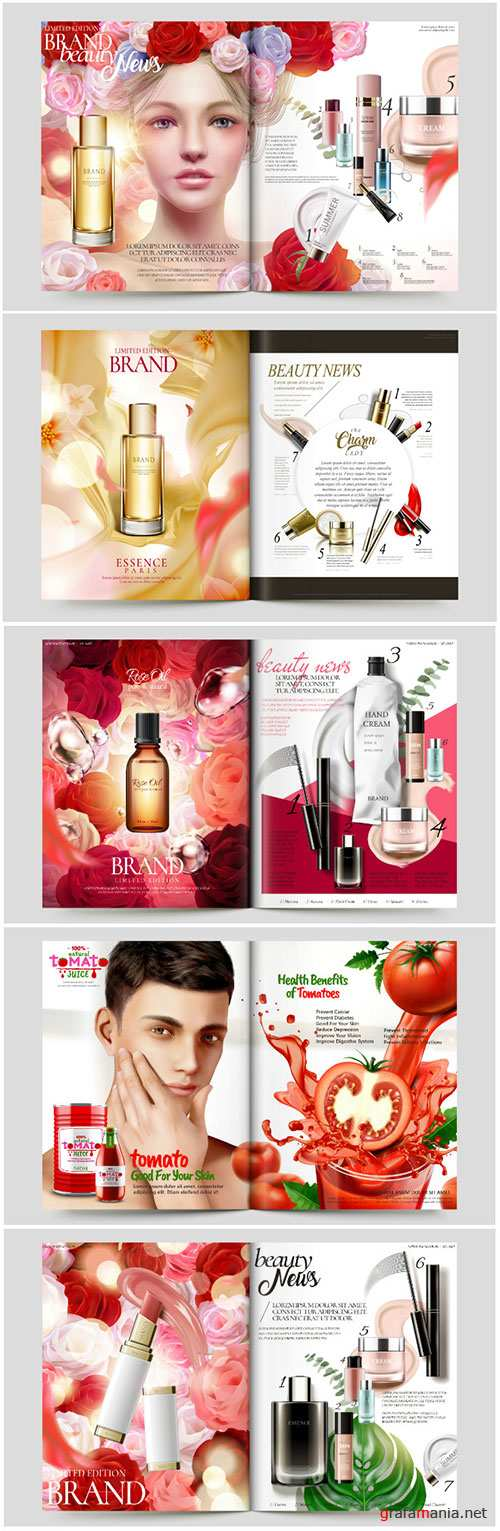 Cosmetic magazine vector template, attractive model with product containers in 3d illustration