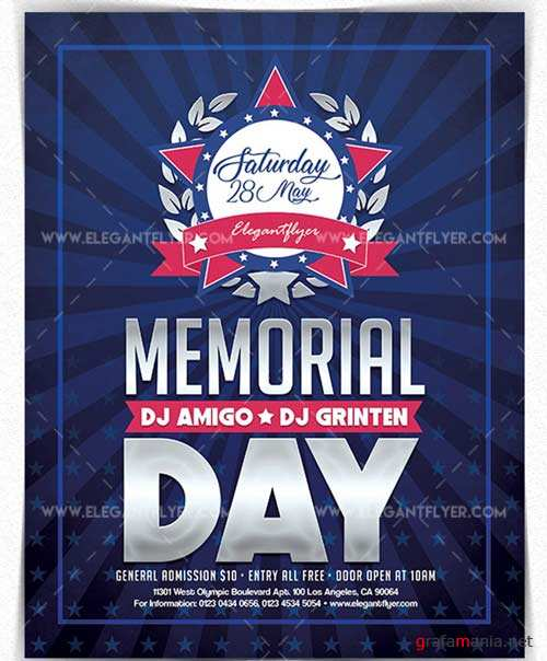 Memorial Day 2018 V8 2018 Flyer PSD Template + Facebook Cover