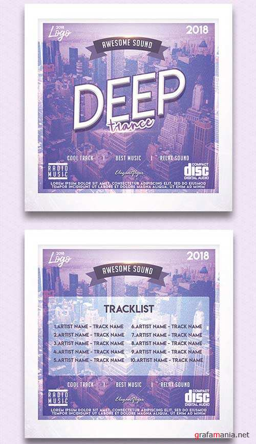 Deep Trance V3 2018 CD Cover PSD Template