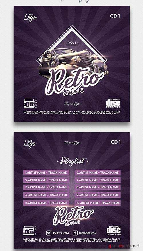 Retro Music V1 Premium CD Cover PSD Template