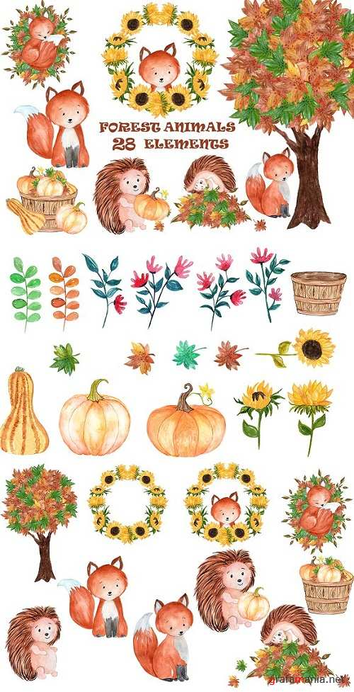 Watercolor forest animals clipart 1600311