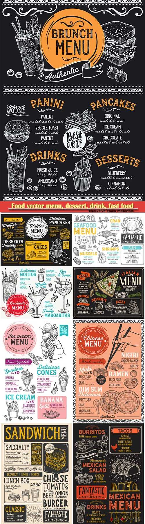 Food vector menu, dessert, drink, fast food