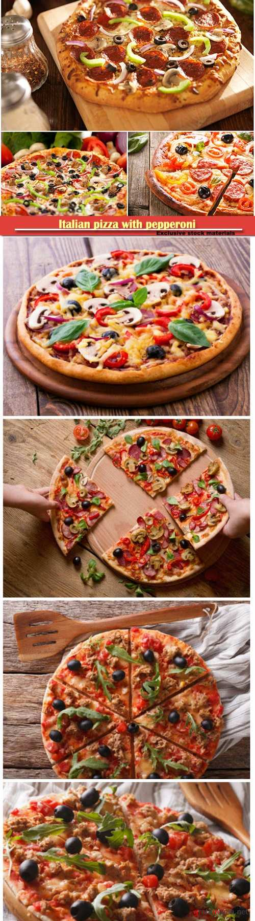 Italian pizza with pepperoni and toppings, pizza with seafood