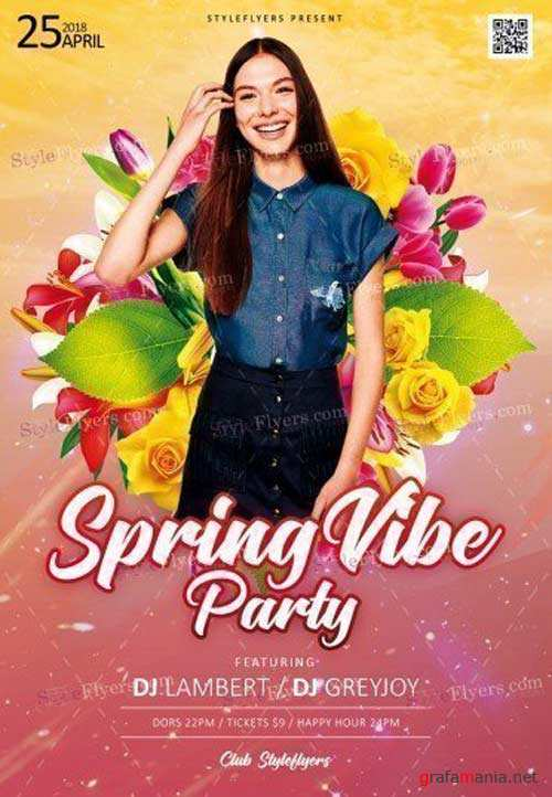Spring Vibe Party V1 2018 PSD Flyer Template