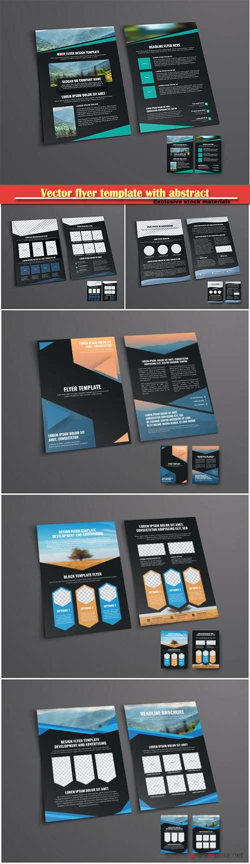 Vector flyer template with abstract geometric shapes for a photo