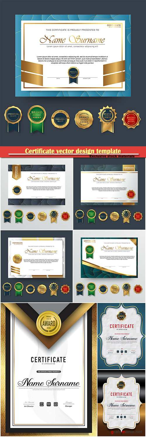 Certificate and vector diploma design template # 59