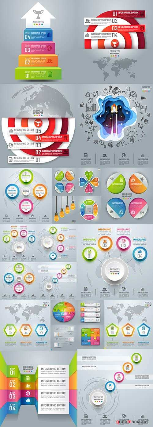Business elements Infographics design collection 172