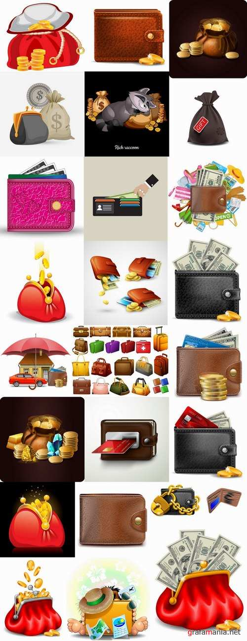 Bag purse money a sack banknote business card 25 EPS