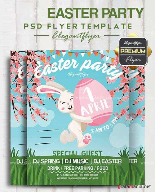 Easter Party V15 2018 Flyer PSD Template + Facebook Cover
