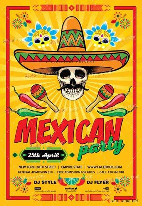 Mexican Party V7 2018 PSD Flyer Template