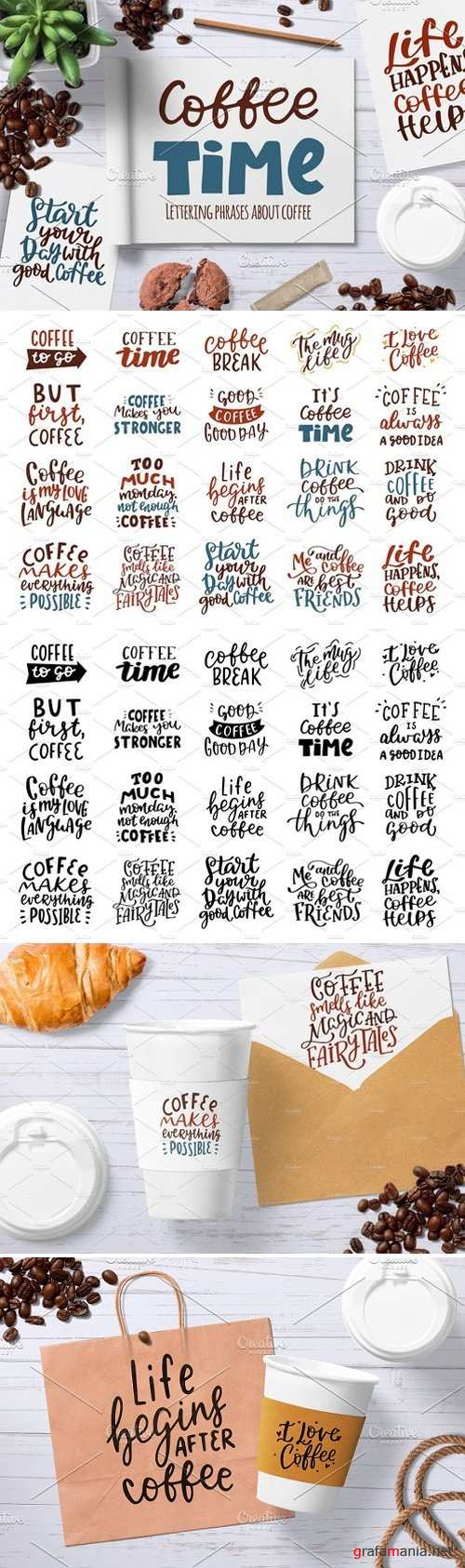 Coffee hand drawn lettering set 2356487