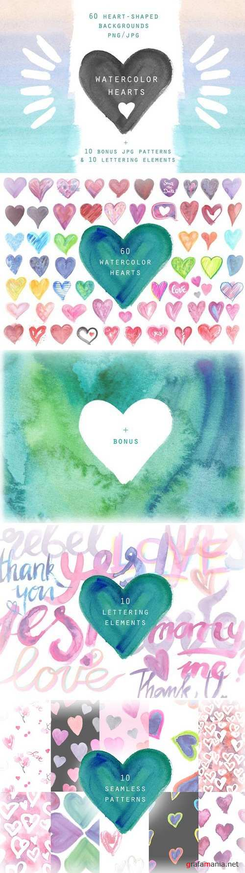 Watercolor hearts. Background set 2356545