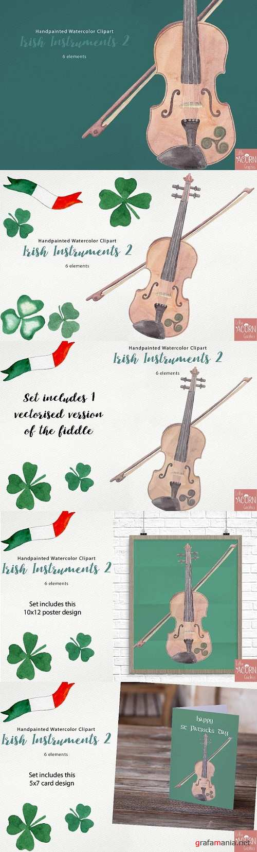 Watercolor Clipart Irish Instruments 2347330