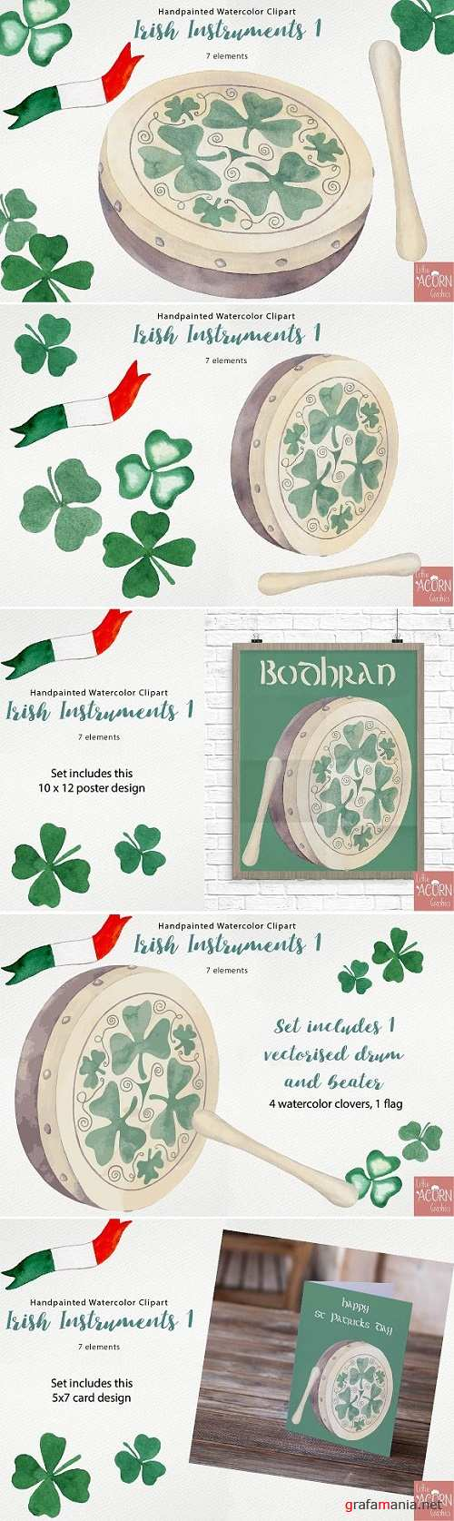Watercolor Clipart Irish Instruments 2347269