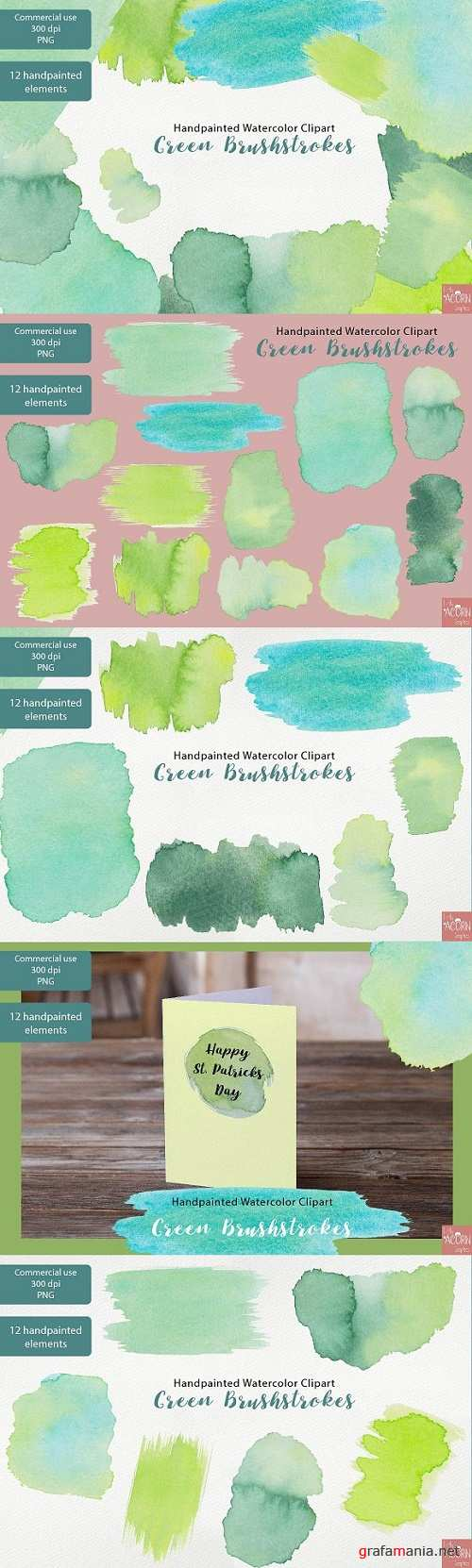 Watercolor Clipart Green Brushstroke - 2321568