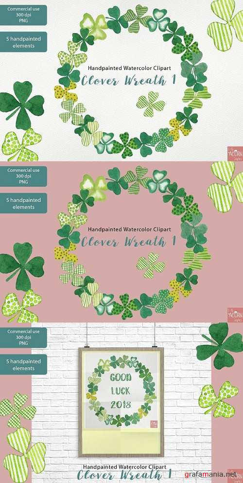 Clover wreath Watercolor Clipart PNG - 2321679