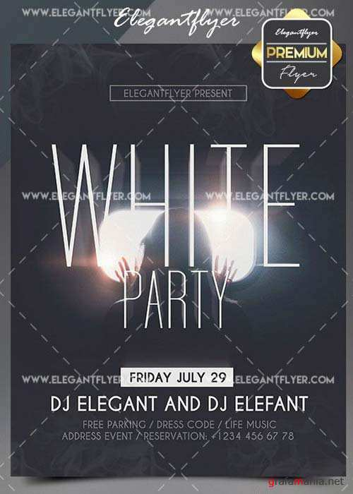 White Party V02 2018 Flyer PSD Template + Facebook Event Page