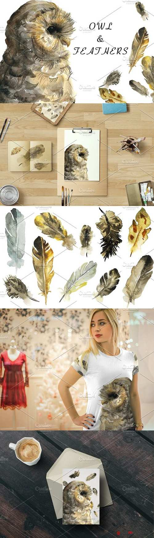 Owl and feathers watercolor set - 1581217