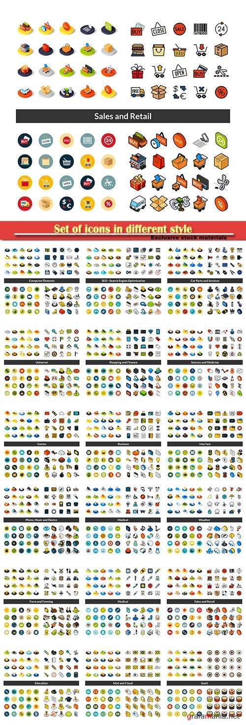 Set of icons in different style, isometric vector flat and outline
