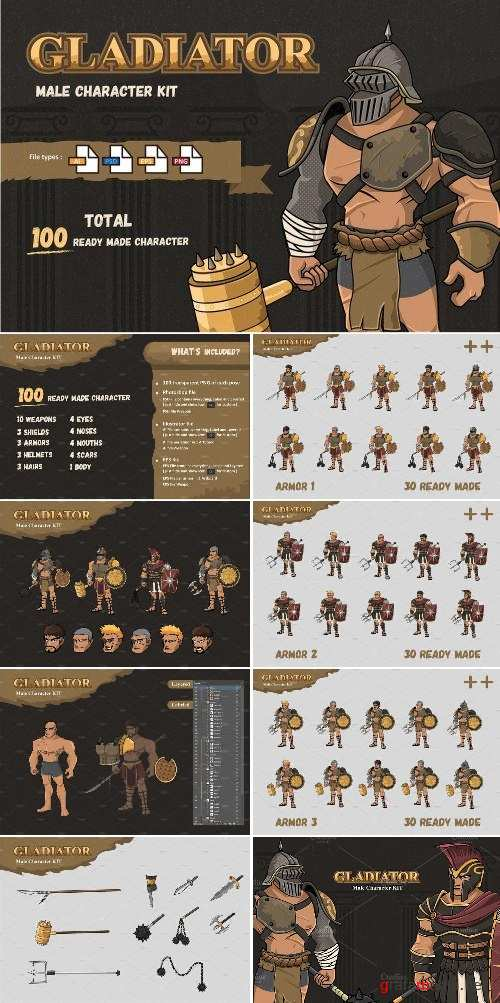 Male Gladiator Character KIT - 2353648