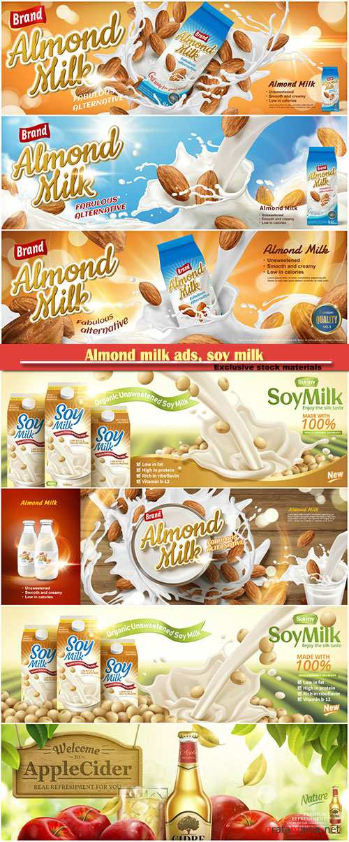 Almond milk ads, soy milk pouring down on beans, splashing milk in 3d illustration