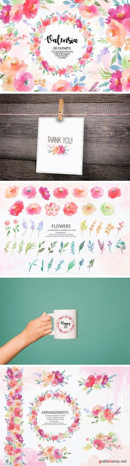 Valensia. Floral Clipart. Watercolor - 2370436